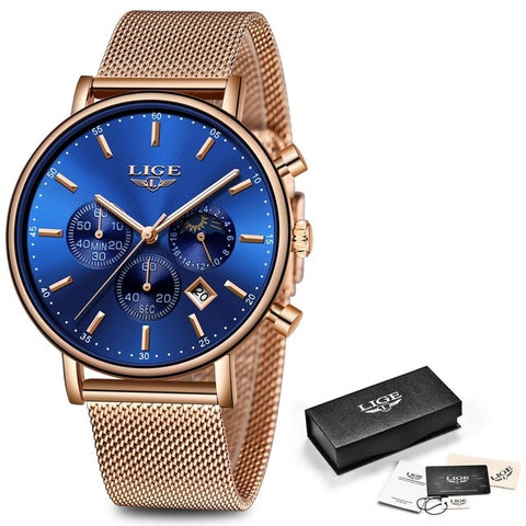 Women Gift Clock LIGE Fashion Brand Quartz Wristwatch Ladies Luxury Rose Gold Watch Female Watch Women Relogio Feminino