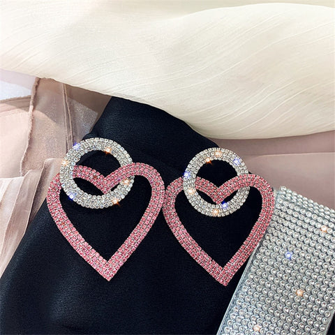 Green Pink Heart Crystal Earrings for Women Oversize Circle Rhinestone Drop Earrings Statement Earrings Gifts