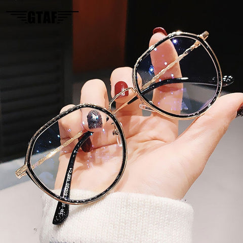 Women Men Fashion Round Myopia Glasses Oversized Eyeglasses Frames Students Metal Clear Glasses -1.0 -1.5 -2.0 -2.5 -3.0 to -6.0