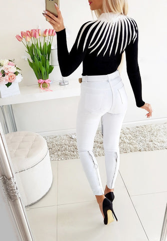 Fashion Bodycon Black White Women Pullover 2020 Autumn Winter Color Matching Knitting Female Turleneck Long Sleeve Sexy Sweater