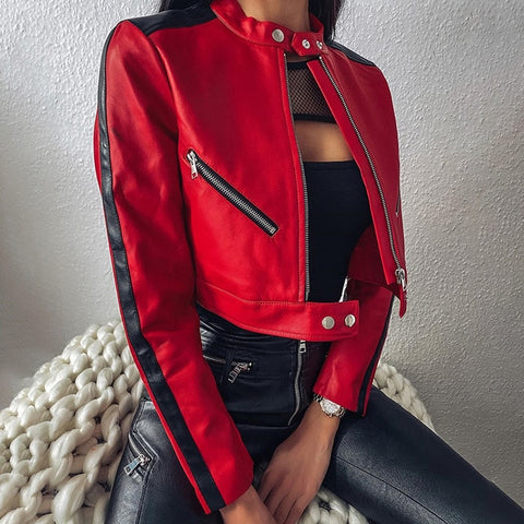 Autumn Zipper Motorcycle Jacket Women Short Faux Soft Leather Jacket Black Red Leather Jacket Ladies Basic Street Coat