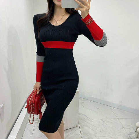 Women Long Knitted Dresses Slim Black Sexy V-neck Stretch Long-sleeved Elegant Winter Knitting Sweater Pencil Dress