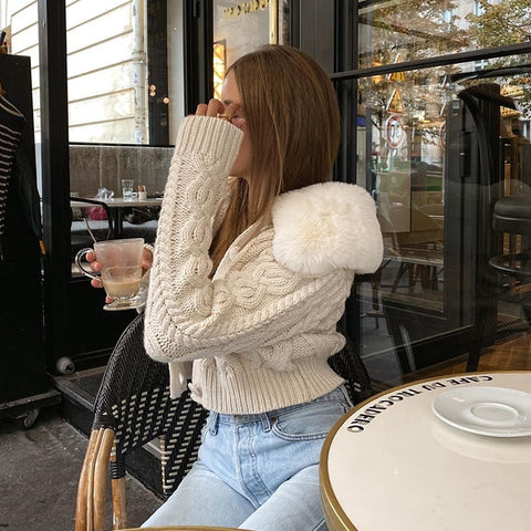Streetwear Fashion Woman Cardigan Sweaters With Fur Trim Collar Korean Style Casual Female y2k Cropped Sweater