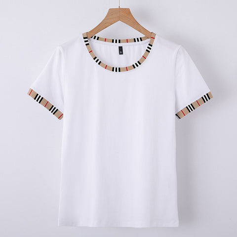BabYoung New Short Sleeve T-shirts Designer Summer Style O-Neck Cotton Slim Tops for Women Patchwork T Tee Shirt Femme