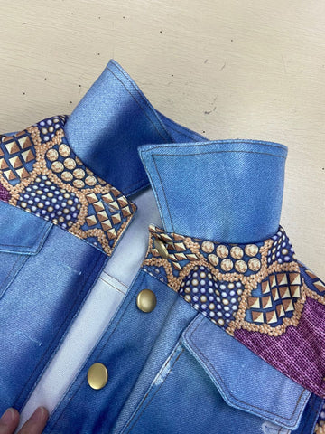 Steampunk Denim Jacket for Women Slim Fit Autumn Flayed Holes Jean Coat Autumn Patchwork Beading Streetwear Short Jackets