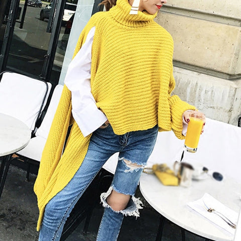 Asymmetrical Sweater For Women Turtleneck Batwing Long Sleeve Split Casual Loose Sweaters Female Fashion Clothing
