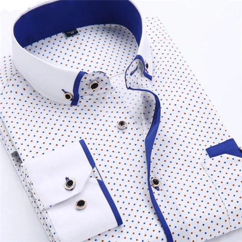 Spring Long Sleeve Turn-Down Collar Dress Polka Dot Print Casual Men Dress Shirt