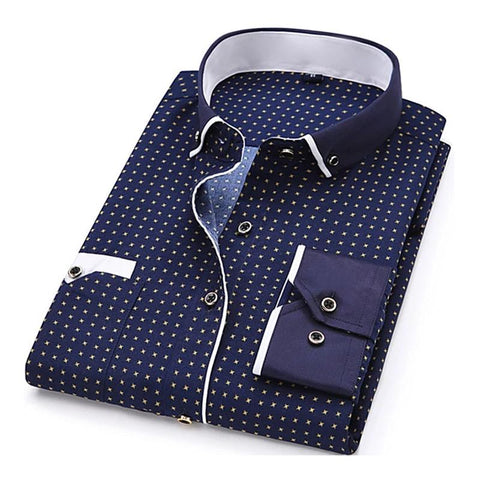Spring Long Sleeve Turn-Down Collar Dress Polka Dot Print Casual Men Dress Shirt - Moolokai Apparel