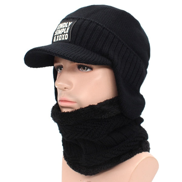 Winter Hat Scarf Skullies Men Knitted Mask Thick Balaclava Earflap Wool Bonnet Beanie Hat - Moolokai Apparel