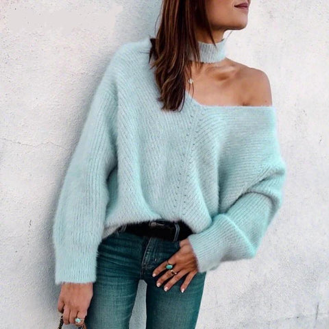 Off shoulder Knitted Female Sexy Turtleneck Oversize Pullover Women Jumpers Casual Winter Fall Sweater - Moolokai Apparel