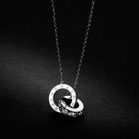 Silver Rose Gold Titanium Womans Cubic Zirconia Circle Necklace & Pendants - Moolokai Apparel