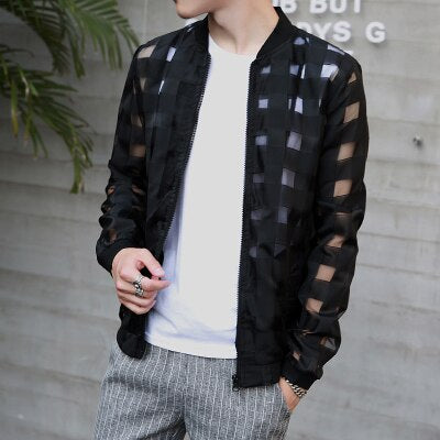 Pierced Transparent Bomber Jacket Men Sun Protection Clothing Windbreaker Thin Plaid Jacket - Moolokai Apparel