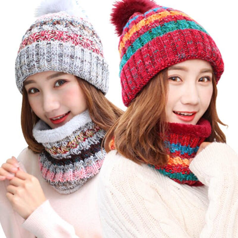 Winter Warm Girls Knit Fight Color Plush Thick Caps + o Ring Collars 2pc  Beanies+Scarf Sets