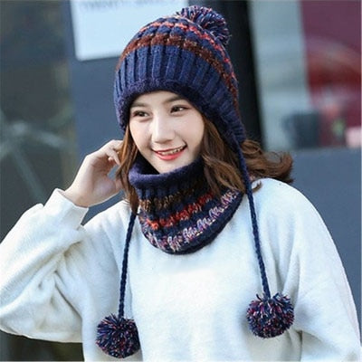 2pcs/Set Big pom poms Ball Knitted Scarf Hat Winter Women Beanie Hat Set - Moolokai Apparel