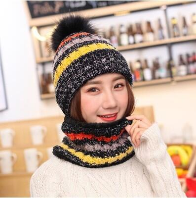 Winter Warm Girls Knit Fight Color Plush Thick Caps + o Ring Collars 2pc Beanies+Scarf Sets - Moolokai Apparel