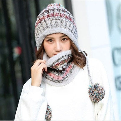 2pcs/Set Big pom poms Ball Knitted Scarf Hat Winter Women Beanie Hat Set