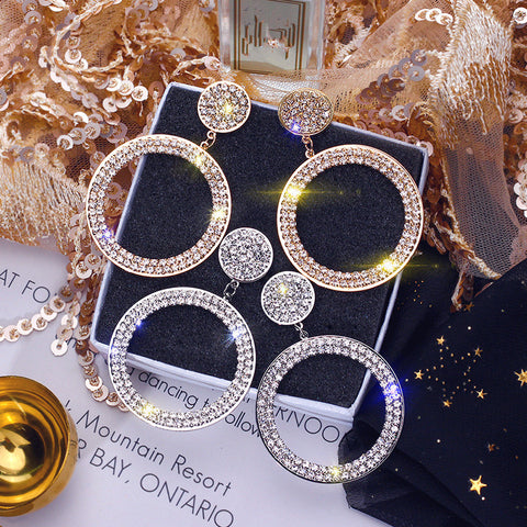 Shining Circle Drop Earrings Inlay Precision Rhinestone Earrings for Women Wedding Party Jewelry