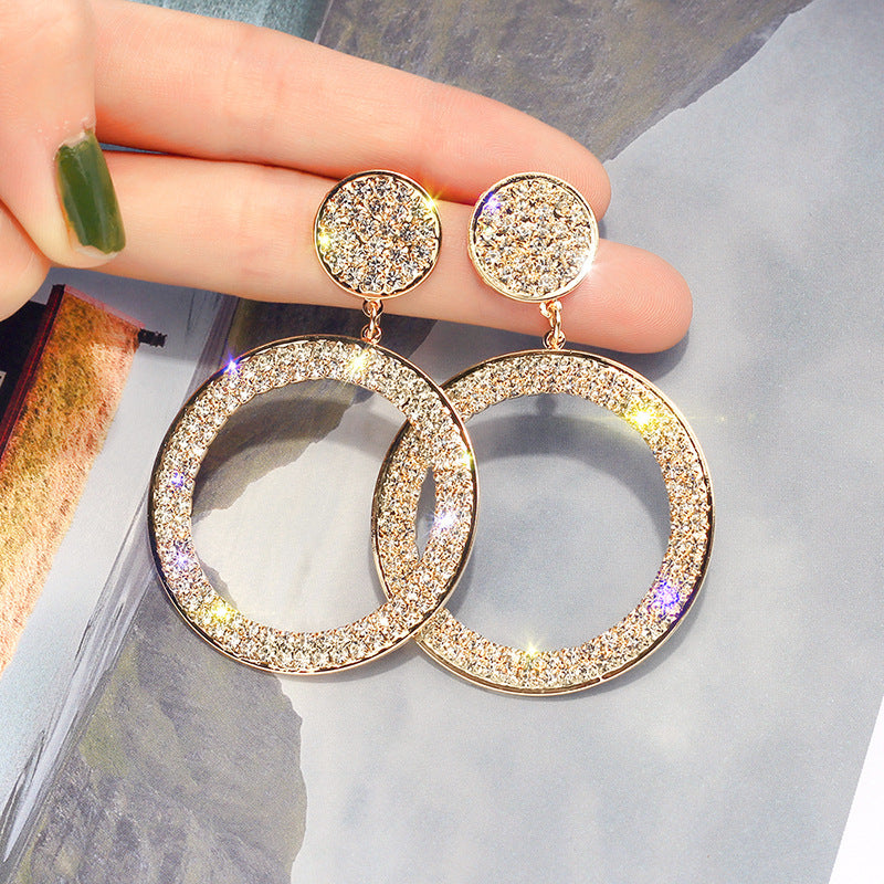 Shining Circle Drop Earrings Inlay Precision Rhinestone Earrings for Women Wedding Party Jewelry - Moolokai Apparel