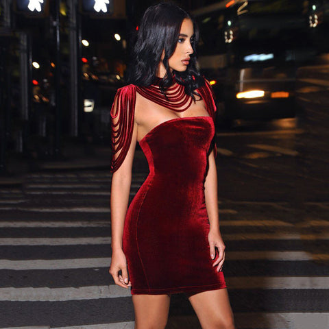 Removable Collar Tassel Design Velvet Strapless Party Night Club Wear Sexy dress