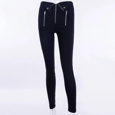Punk High Waist Skinny Women Trousers Black Elastic Push Up Casual Winter Autumn Sexy Pants