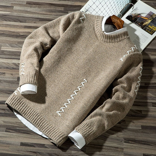 Autumn Winter Long-Sleeved Men's Sweater Round Collar Solid Color Sweater - Moolokai Apparel