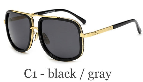Classic Oversized Men Luxury Brand Mach One Square Retro UV400 Mirror Eyewear Sunglasses