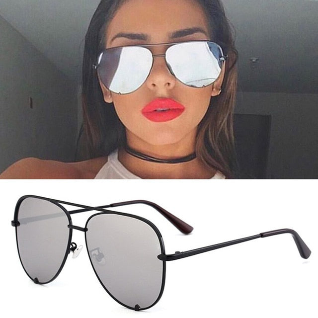 Flat Top Aviation Style Women UV400 Retro Brand Luxury Mirror Female Ladies Metal Frame Sun Glasses - Moolokai Apparel