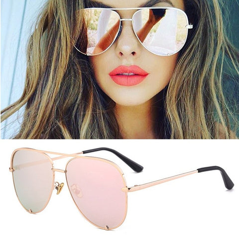 Flat Top Aviation Style Women UV400 Retro Brand Luxury Mirror Female Ladies Metal Frame Sun Glasses