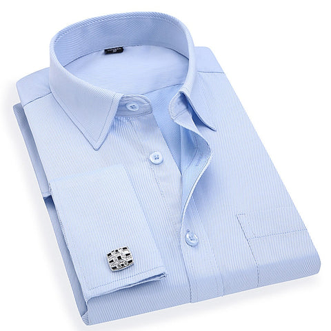 Men 's French Cufflinks Business Long Sleeves White Blue Twill Dress Shirt