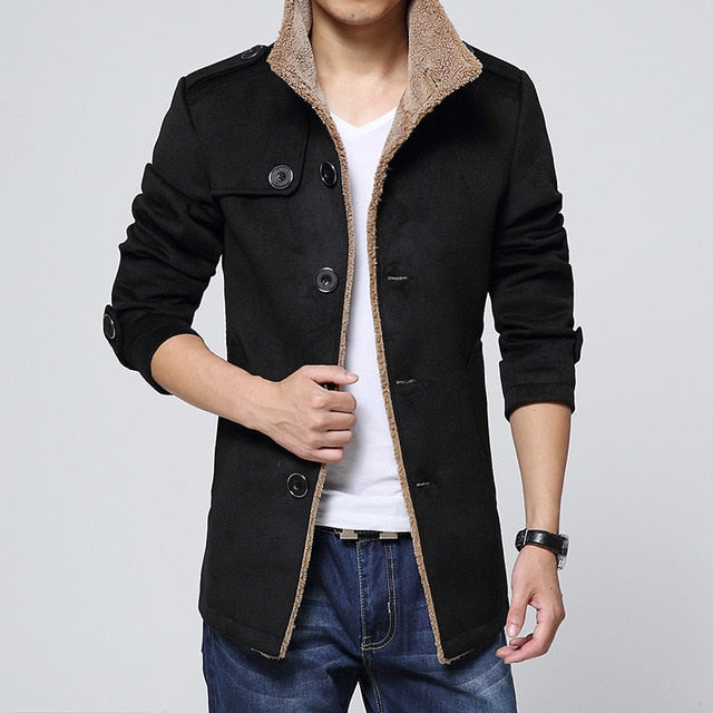 Men Long Wool No Cap Pocket Coat Warmth Windproof And Slim Fit Windbreaker Trench Coat Jacket - Moolokai Apparel