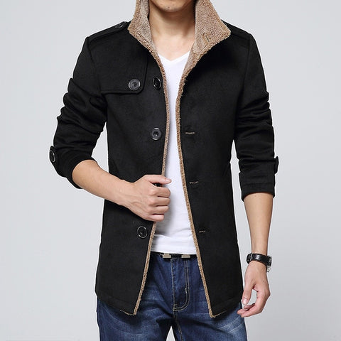 Men Long Wool No Cap Pocket Coat Warmth Windproof And Slim Fit Windbreaker Trench Coat Jacket
