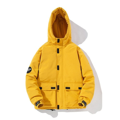 Mens Winter Thick Warm Cotton Padded Baseball Outwear Casual Solid Color Hooded Jacket - Moolokai Apparel