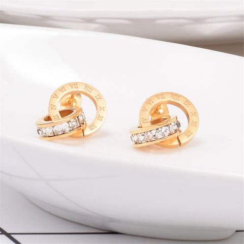 Stainless Steel Earrings for Women Roman Number Silver Stud Round Zirconia Jewelry