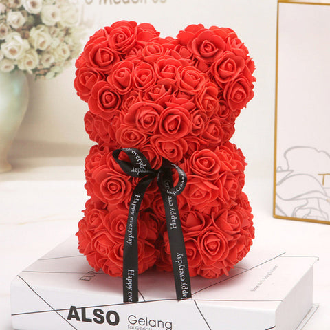 HOT Valentines Day Gift 25cm Red Rose Teddy Bear Flower Artificial Decoration Women's Valentines Gift