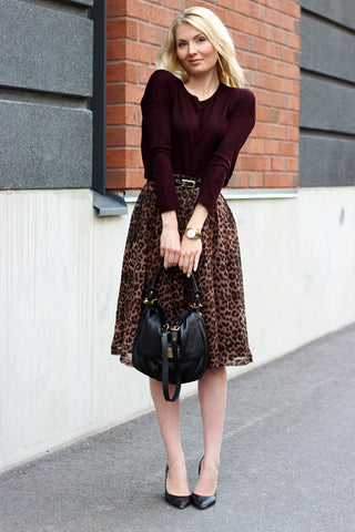Burgandy Sweater And Leopard Skirt