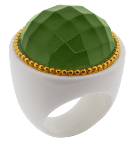 Lucas Jack Jewelry White Resin Ring with Green Faceted Crystal