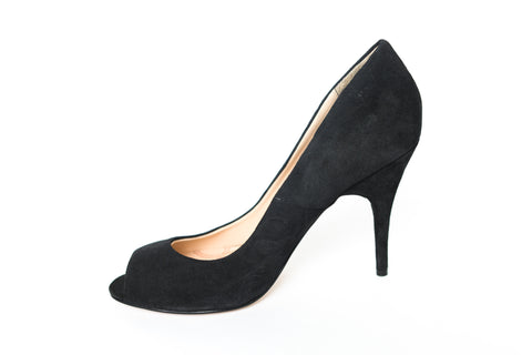 Lucy Choi London – Epidote Black Suede Peep Toe Pumps