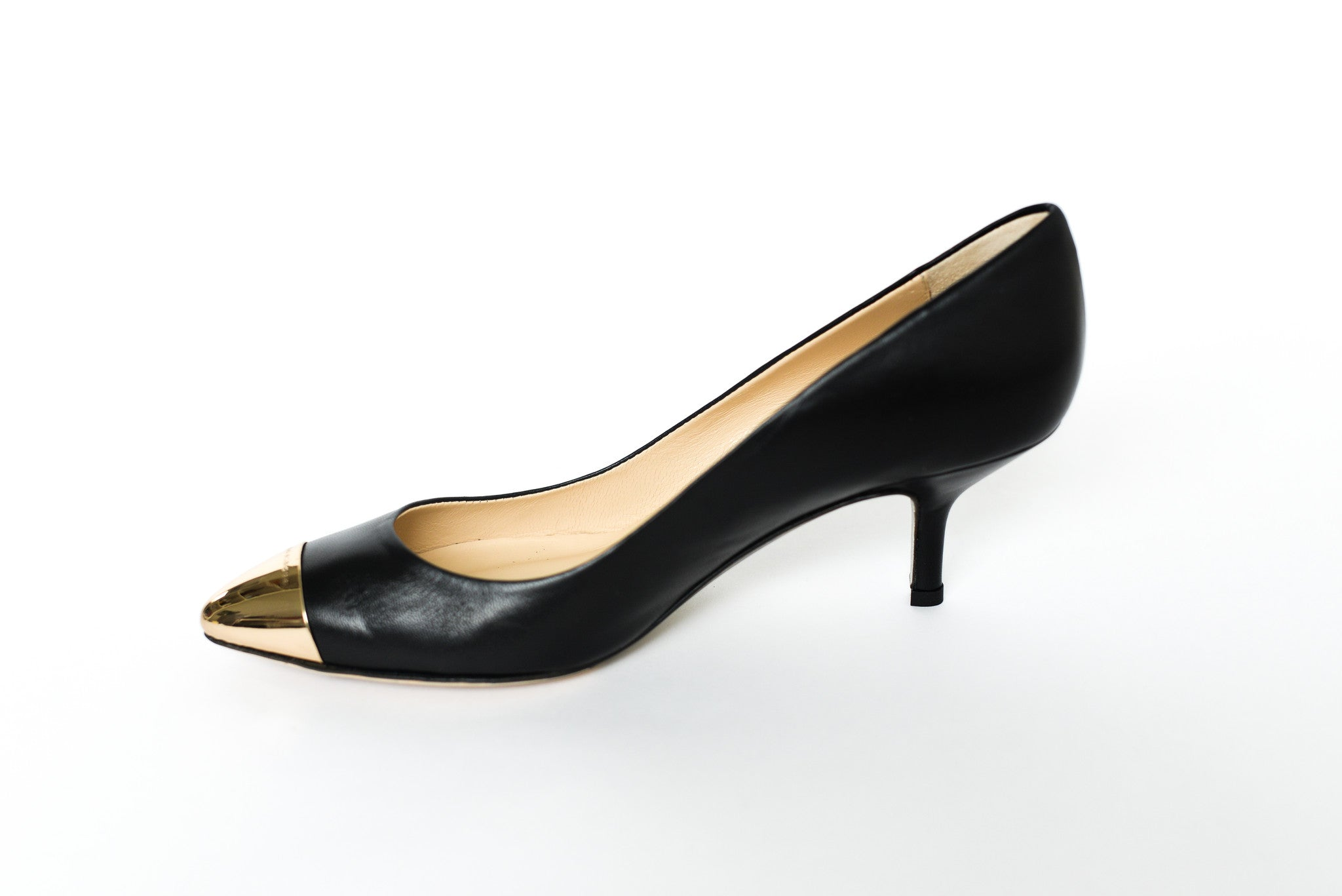 Fabio Rusconi Black Leather Pointed Heels with Gold Metal Toe Cap