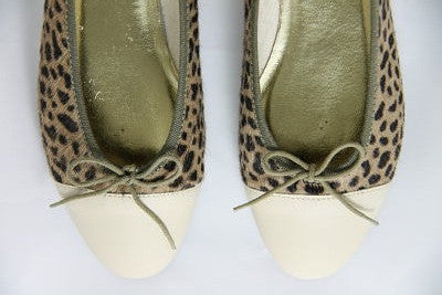 French Sole Simple Leopard Pony/Beige Leather Toe Flats - front