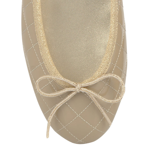 French Sole Henrietta Beige Patent Quilt Gold Trim - Front