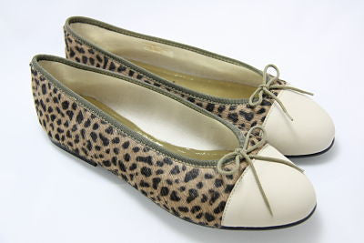French Sole Simple Leopard Pony/Beige Leather Toe Flats