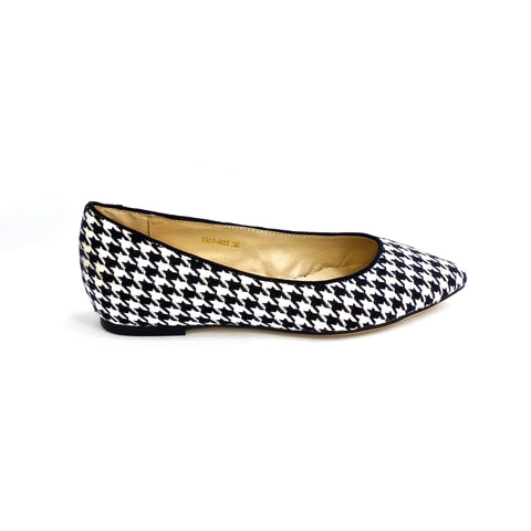 Sole 2 Sole Black and White Houndstooth Flats - side