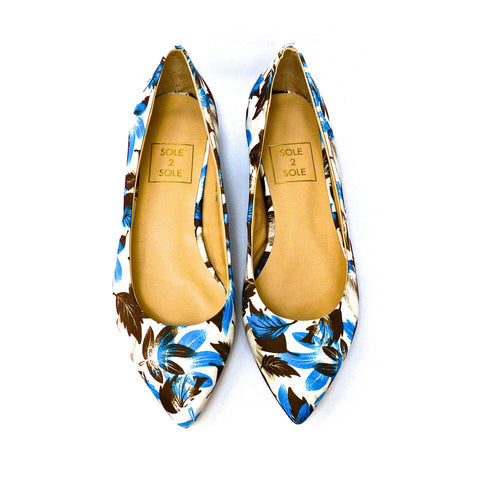 Sole 2 Sole Blue and White Multi Flats