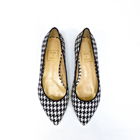 Sole 2 Sole Black and White Houndstooth Flats