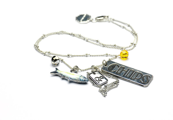 Nadia Minkoff Fish and Chips Necklace - silver