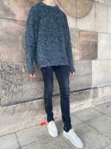 Grey Mohair Knit Sweatshirt.