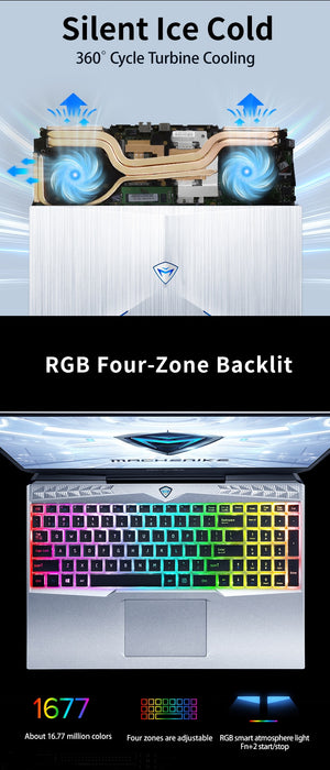 "Machenike Gaming Laptop F117 VD1 RTX 2060 i7 10750H 15.6"" 144Hz 72% NTSC 16G RAM 512G SSD IPS Laptops 4 Zone RGB Keyboard"