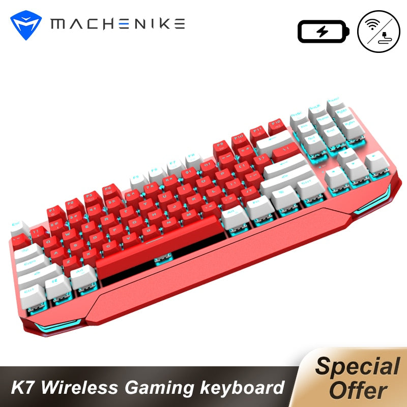 Machenike Gaming Keyboard K7 Wireless keyboard Mechanical Keyboard 87 keys Bluetooth 3.0 Black Switch Blue Switch keybaord