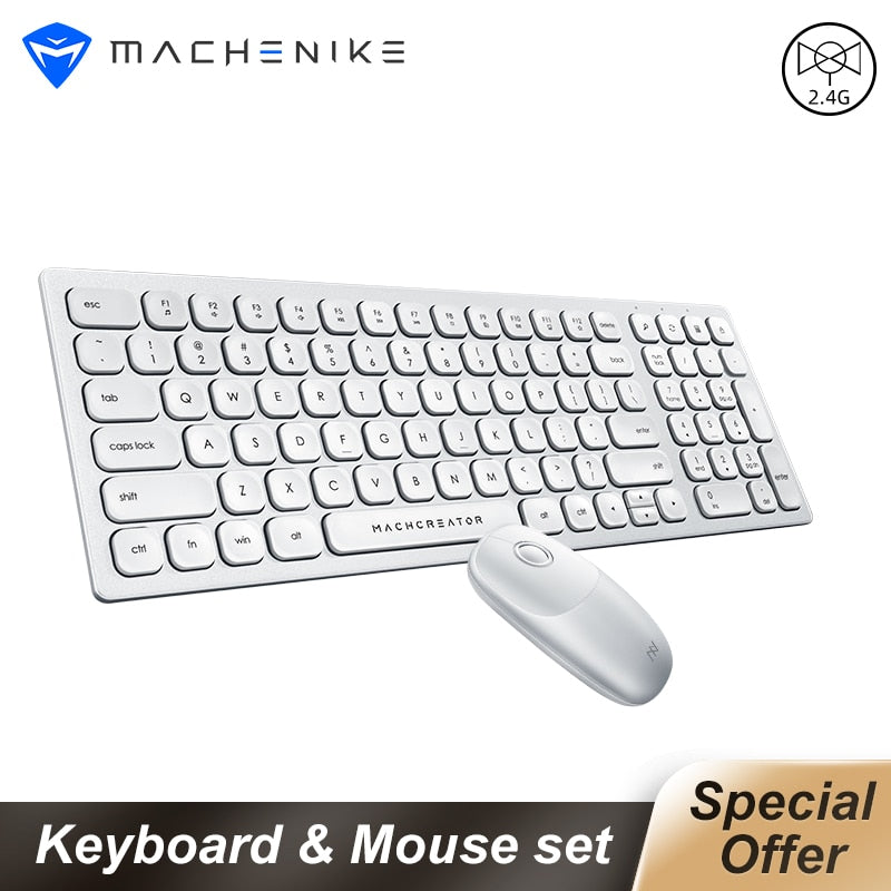 Machenike Keyboard and Mouse 2.4G Wireless Mini silent Keyboard Mouse Combo For Notebook Laptop Mac Desktop PC TV Office supply