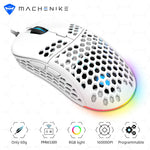 Machenike Gaming Mouse RGB PMW3389 Computer Mouse Gamer Gaming 16000DPI Programmable Adjustable PC Hollow Design 60g LED Light